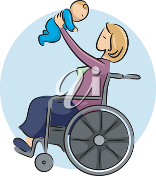 Illustration of a Woman in a Wheelchair Playing with Her Baby