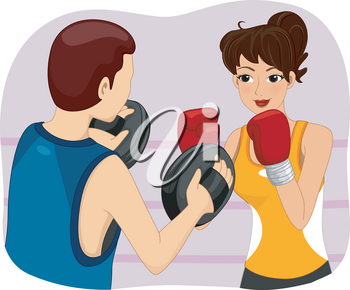 Illustration of a Woman Getting Boxing Lessons