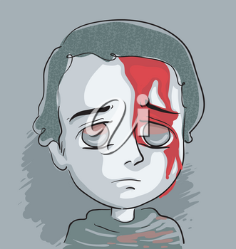 Illustration of a Sad and Distressed Kid Boy with Head Injury and Blood Flowing From Cut in Forehead