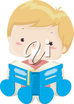 Illustration of a Kid Boy Reading a Book Shaped as a Music Note