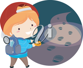 Illustration of a Kid Boy Detective Holding Flashlight and Pointing to Footsteps He Found in the Dark