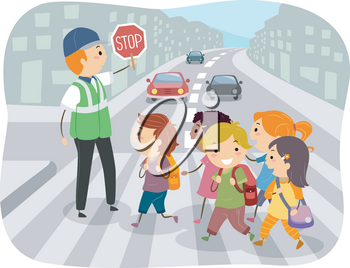 Illustration of Stickman Kids Students Crossing the Street with Help from Crossing Guard Holding Stop Sign