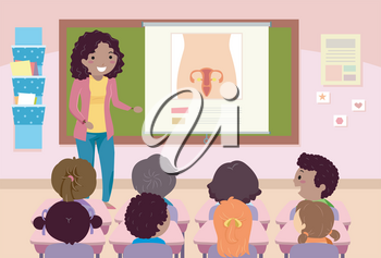 Illustration of a Teacher Teaching Female Reproductive Organ to Students in Her Class