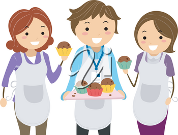 Illustration of Parents and Teacher Wearing Apron and Holding Cupcakes for Bake Sale In School