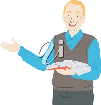 Illustration of a Senior Man Teacher Speaking and Holding an Open Book