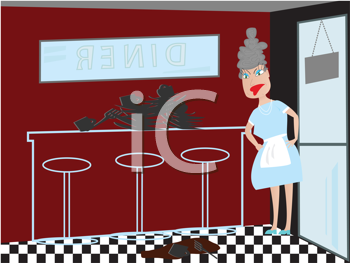 Royalty Free Clipart Image of an Angry Waitress