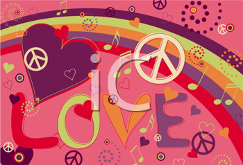 Royalty Free Clipart Image of a Love and Peace Background