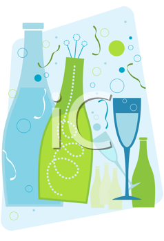 Royalty Free Clipart Image of Champagne Bottles and a Glass