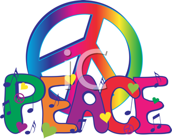 Royalty Free Clipart Image of a Peace Symbol and the Word Peace