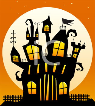 Royalty Free Clipart Image of a Haunted House With a Moon in the Background