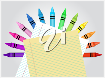 Royalty Free Clipart Image of Crayons and Paper