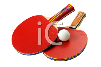 Two red table tennis rackets and ball.