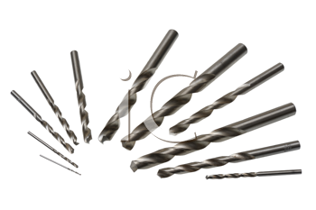 A set of drill bits of various sizes on a white background