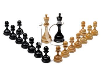 Several wooden chess pieces light and dark colors.