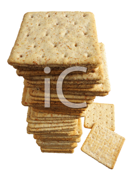 Pile of crackers on a white background, isolated.