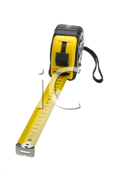 Black and yellow yardstick on a white background, isolated