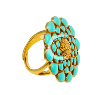 Jewellery, yellow ring with blue floral ornament