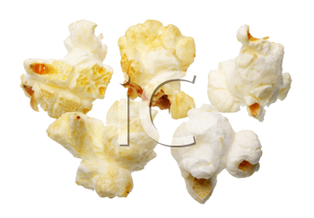 Few grains of popcorn, isolated on a white background