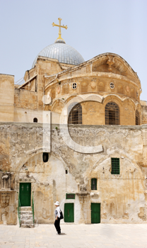 Royalty Free Photo of the Roof, Domes and Cells of the Church of the Holy Sepulchre in Jerusalem