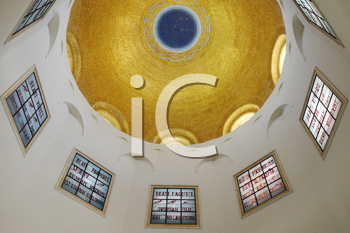 Royalty Free Photo of the Domed Ceiling in the Church on the Mount of Beatitudes Near Lake Kinneret (Israel)