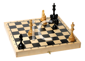 Royalty Free Photo of a Chess Board With Some Pieces Left