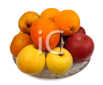 Various fruit in a glass vase on a white background, isolated
