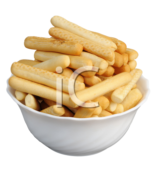 Crackers in a white cup on a white background, isolated.