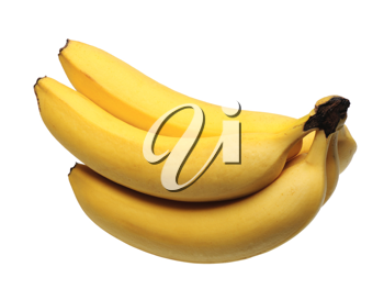 Five yellow bananas on a white background, isolated.