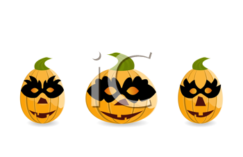 Royalty Free Clipart Image of Pumpkins With Masks