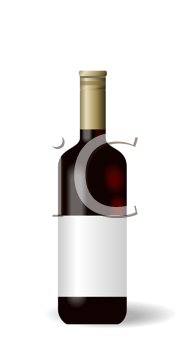 Royalty Free Clipart Image of a Bottle of Red Wine