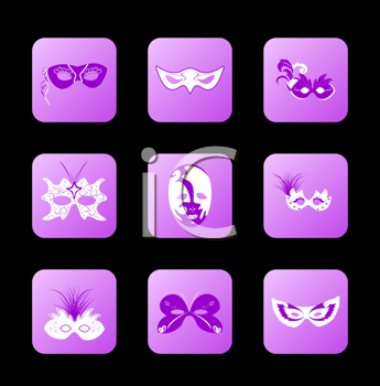 Royalty Free Clipart Image of a Set of Carnival Masks
