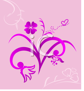 Royalty Free Clipart Image of a Pink Floral Design