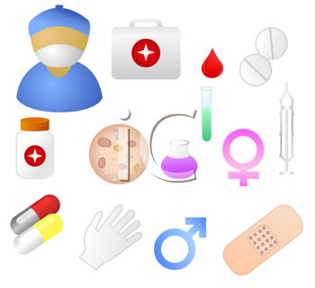 Royalty Free Clipart Image of a Collection of Medical Themed Icons