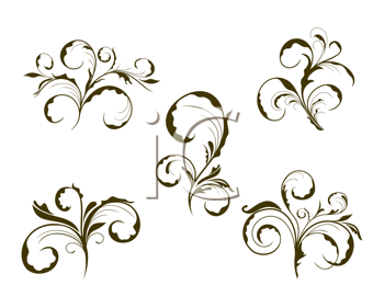 Royalty Free Clipart Image of Ornate Floral Design