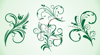 Royalty Free Clipart Image of Ornamental Flowers
