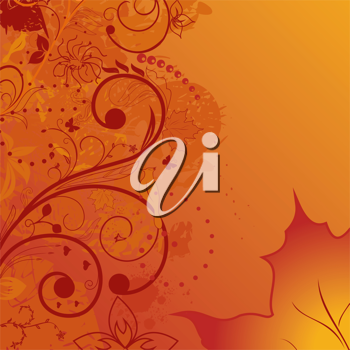 Illustration grunge autumn background, element for design - vector