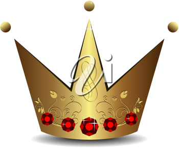 Realistic illustration of royal gold crown isolated on white background - vector