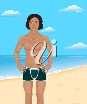 Illustration brawny man on beach - vector