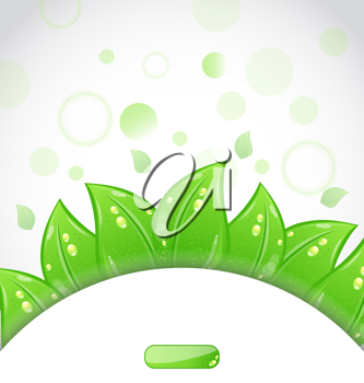 Illustration eco brochure with fresh green leaves and emblem - vector