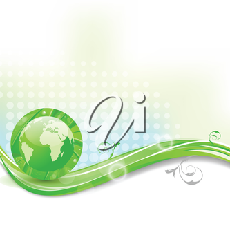 Illustration background with global planet and eco green leaves  - vector