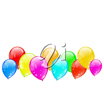Illustration colourful glossy balloons isolated on white background - vector