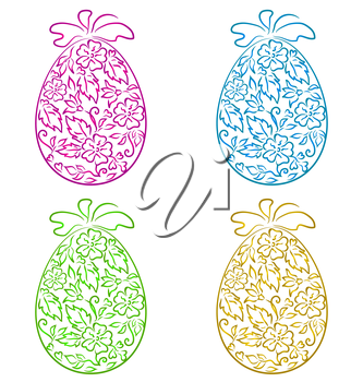 Illustration set ornamental eggs in floral style for Easter - vector