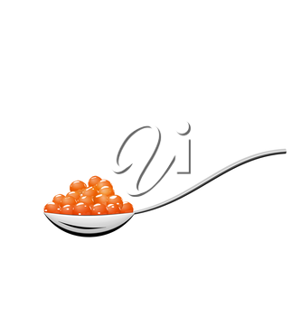 Illustration teaspoon with red caviar isolated on white background - vector