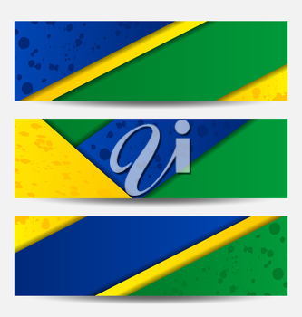 Illustration set football flyers in Brazil flag colors - vector