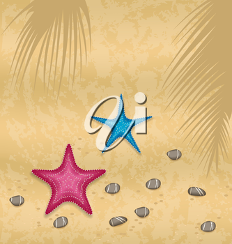 Illustration sand background with starfishes and pebble stones - vector
