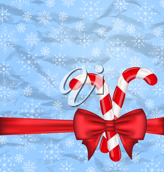 Illustration Christmas background with gift bow and sweet canes, snowflakes texture - vector