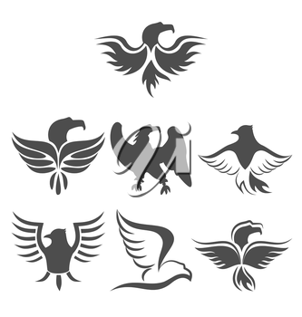 Illustration set icon of eagles symbol isolated on white background - vector