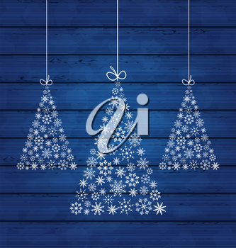 Illustration holiday wooden background with Christmas pines made of snowflakes - vector