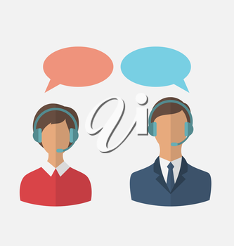Illustrations flat icons of call center operators with man and woman wearing headsets, people isolated on white background - vector