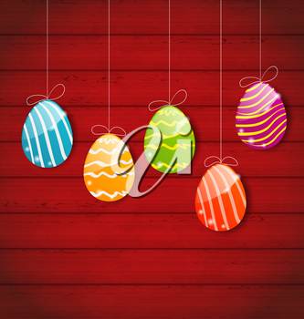 Illustration Easter three ornamental colorful eggs on wooden background - vector